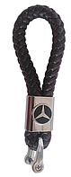Брелок с логотипом MERCEDES, плетеный брелок с логотипом мерседес + карабин/коричневый