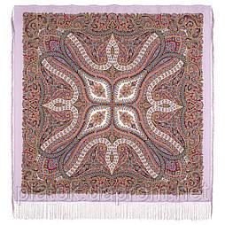 Чудовий століття 1867-15, павлопосадский хустку (шаль, крепдешин) шовковий з шовковою бахромою