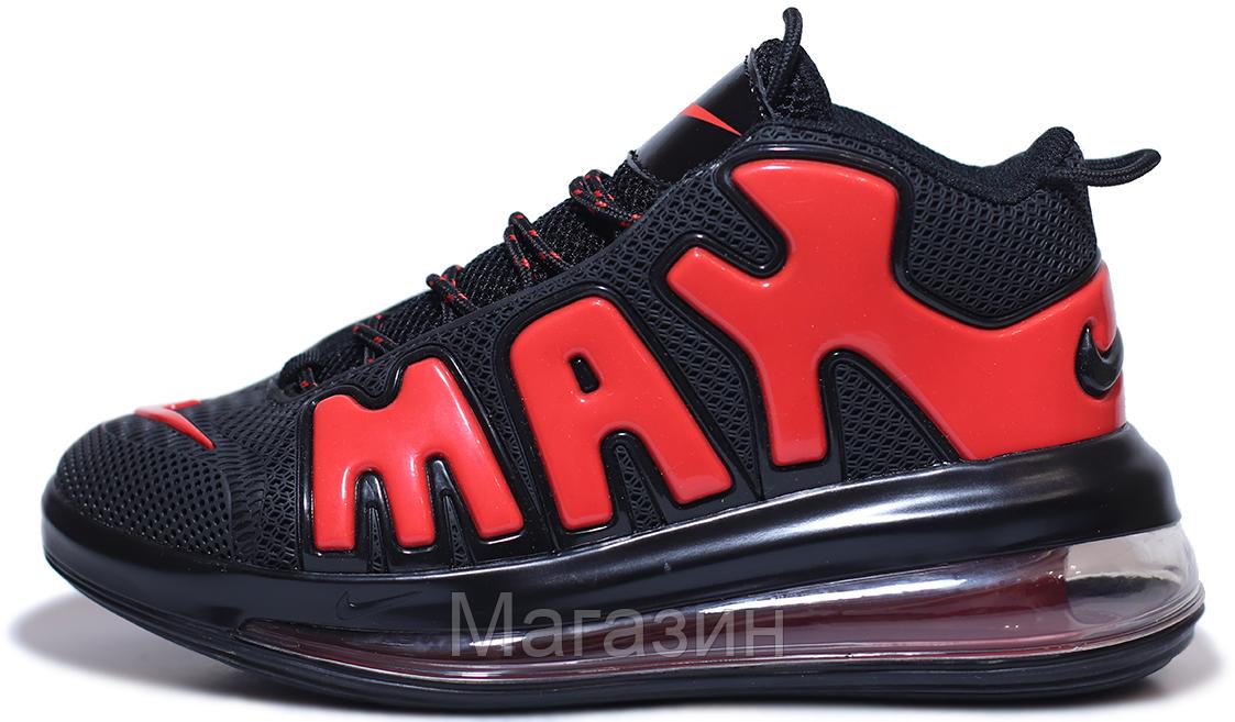 Мужские кроссовки Nike Air More Uptempo 720 QS 2 Black/Red Найк Аир Аптемпо 720 черные