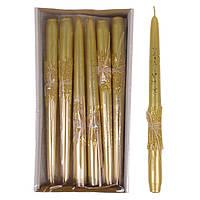 Свеча конусная Брокат Металлик Натура 25 см. золотая