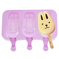 ◯Силиконовая форма для мороженого CUMENSS Кролик Pink на палочке 3 порции