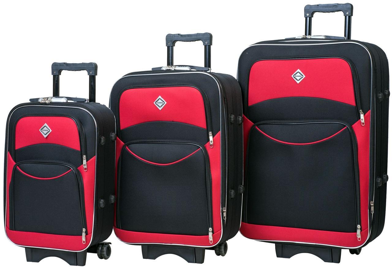 Набор тканевых дорожных чемоданов на колесах Bonro Style 3 штуки черно-красный