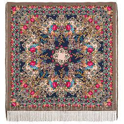 Кружевной 951-17, павлопосадский платок (шаль, крепдешин) шелковый с шелковой бахромой