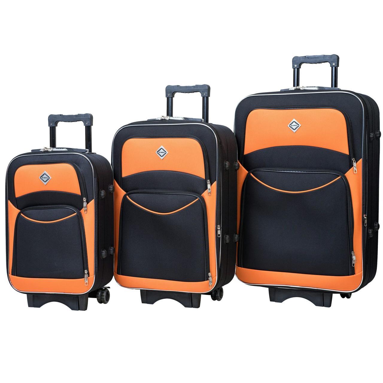 Набор тканевых дорожных чемоданов на колесах Bonro Style 3 штуки черно-оранжевый