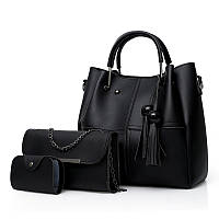 Набор женских сумок 3 в 1 с косточками из качественной экокожи, черный, уценка, фото 1