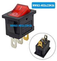 Кнопочный выключатель, клавиша средняя, с подсветкой, 3 контакта, с фиксацией, защёлка 18,8 * 12,9 мм., фото 1