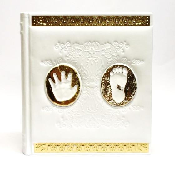 Детский кожаный альбом для фотографий МАКЕЙ, магнитный блок, ручная работа. Цвет молочный