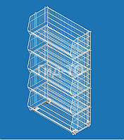 Складной сетчатый стеллаж 5 корзин (360х600х440)