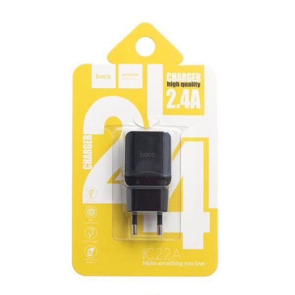 Сетевое зарядное устройство Hoco C22A 2.4A Black