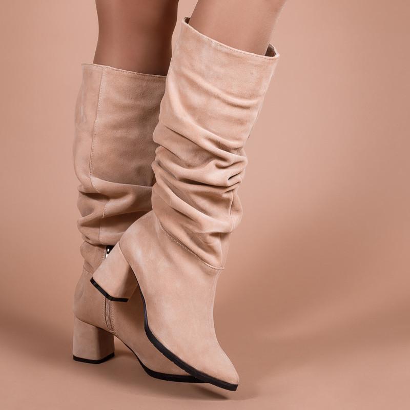 Замшевые женские сапоги-гармошки на среднем каблуке. Натуральная замша. Зима, деми. Пошив на любую голень.
