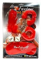Набор Любви красный (кубики,наручники,повязка на глаза,пёрышки)