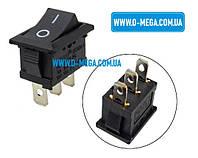 Кнопочный выключатель, клавиша средняя, 3 контакта, с фиксацией, защёлка 18,8 * 12,9 мм.
