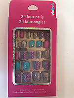 Ногти детские накладные с геометрическими узорами и серебряным блеском фирмы Claire's ( оригинал)