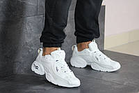 Кроссовки Reebok мужские, белые, в стиле Рибок, кожа, сетка, код SD-8215