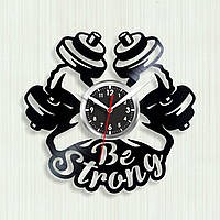 Будь сильным Be strong Настенные цитаты Тренажерный зал Виниловые часы Часы с гантелями Спорт часы 30 см