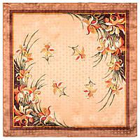 Дуновение 884-16, павлопосадский платок (жаккард) шелковый с подрубкой, фото 1