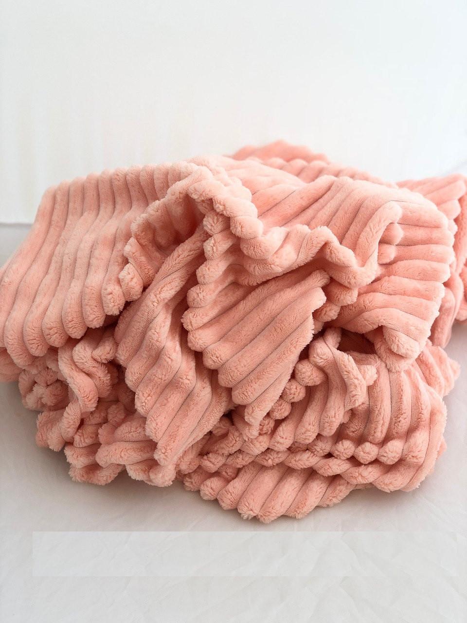 Плюшевый чехол на кушетку 80 см на 200 см - персиковый (шарпей)