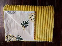 Плюшевый плед на кушетку 120 см на 160 см -  желтый, фото 2