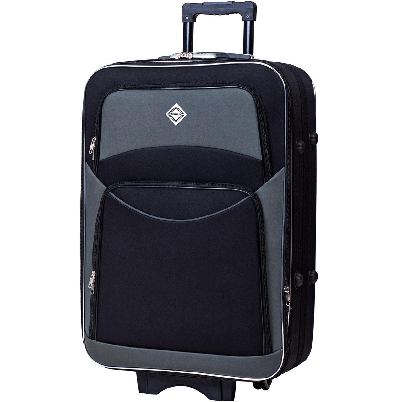 Дорожный чемодан на колесах тканевый Bonro Style небольшой черно-серый