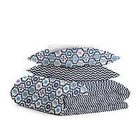 Комплект евро взрослого постельного белья ORNAMENT BLUE ZIGZAG