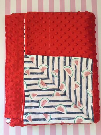 Плюшевый плед на кушетку 120 см на 160 см - красный цвет (пупырышку ), фото 2