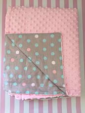 Плюшевый плед на кушетку 120 см на 160 см - розовый цвет , фото 2