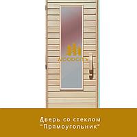 """Дверь из липы со стеклом """"Прямоугольник"""""""