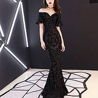 Роскошное черное платье коллекция 2019. Вечірнє плаття рибка. Вечернее платье с паэтками. Другие расцветки