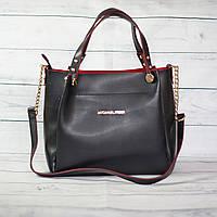 Женская сумкаMісhаеl Коrs (в стиле Майкл Корс),черная с красным ( код: IBG088BR2 )
