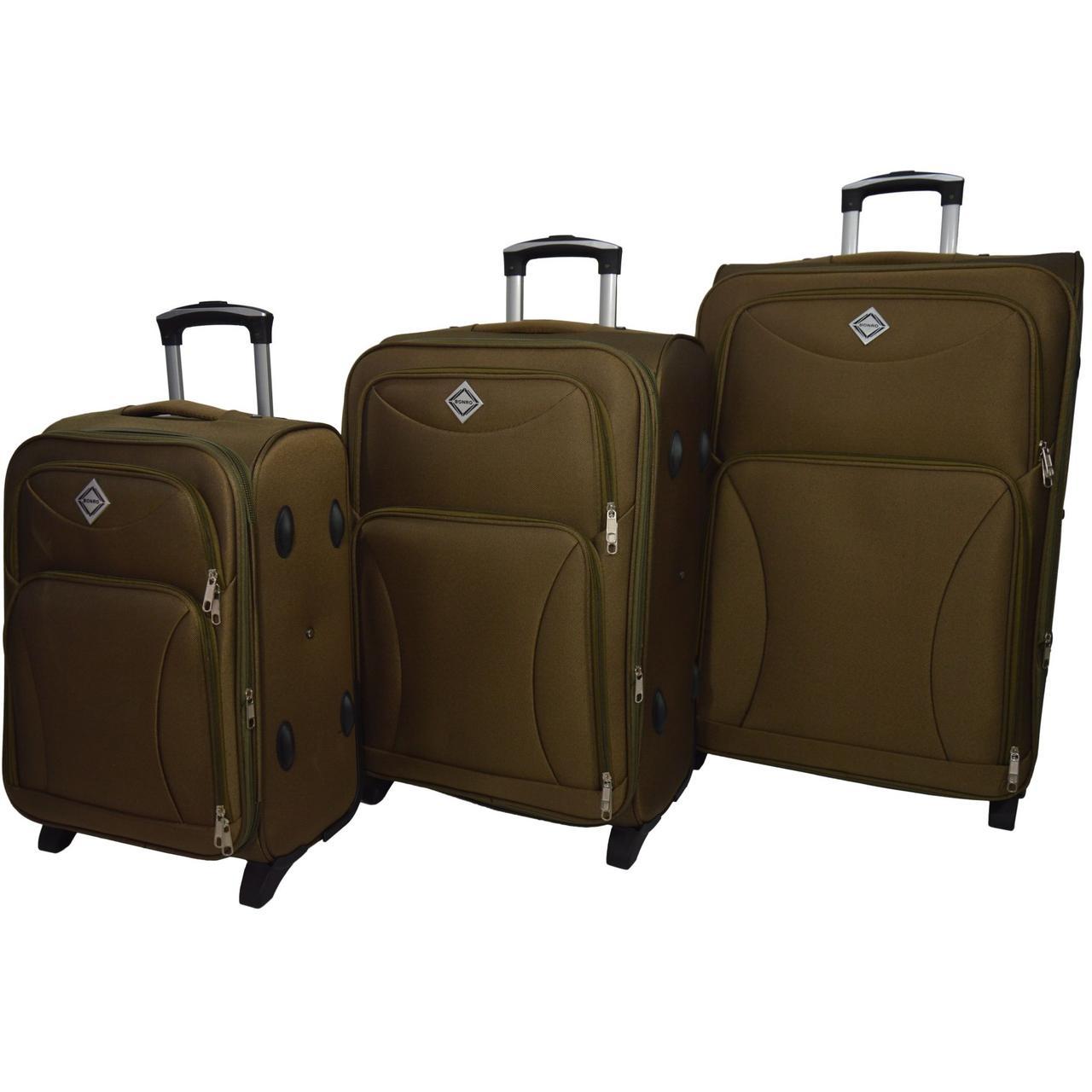 Набор чемоданов Bonro Tourist 3 штуки золотой