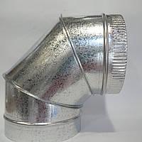 Отвод 90* диаметр 180 мм из оцинкованной стали