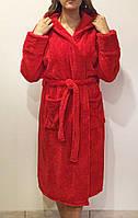 Халат махровый женский короткий с капюшоном р.42-50