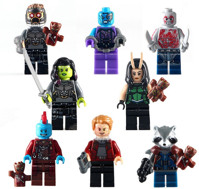 Фигурки Стражи Галактики Guardians of the Galaxy Лего Lego Звёздный Лорд Гамора Дракс Енот Ракета Грут Небула