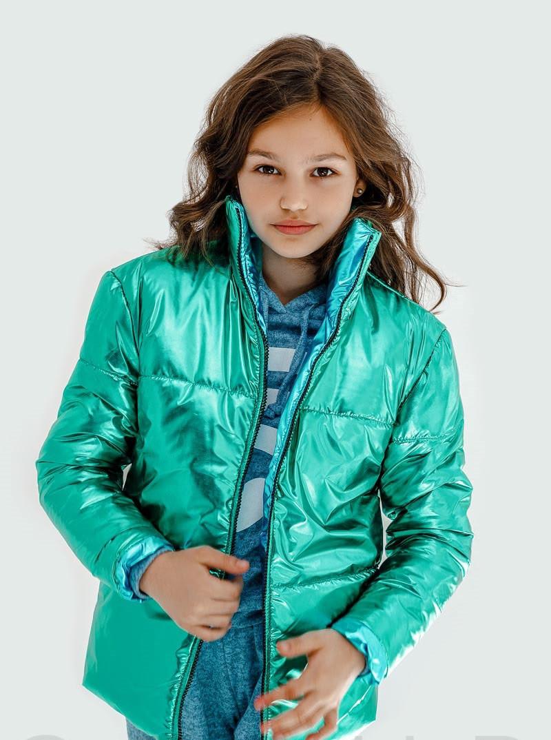 Детская куртка демисезонная для девочки двусторонняя | 128-164р.