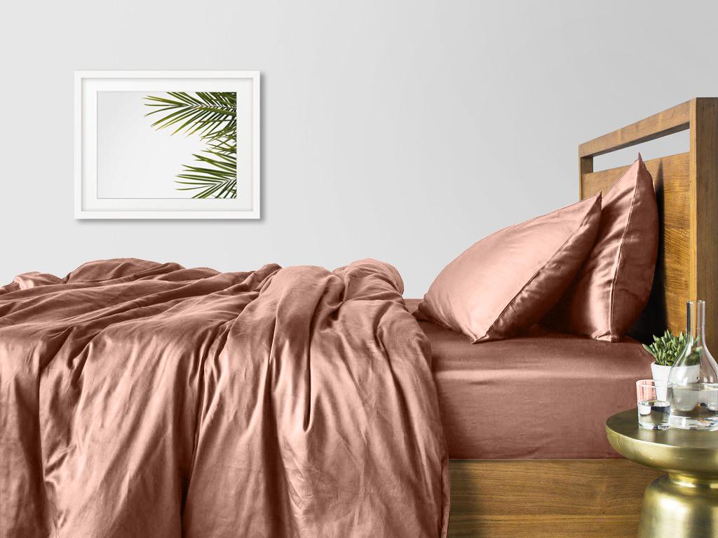 Комплект евро взрослого постельного белья сатин BEIGE