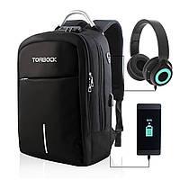 """Городской рюкзак антивор под ноутбук 13,2 """" TORBACK с USB hadphone разъемом Выбор цвета: серый, черны"""