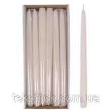 Свеча конусная Велюр Брокат 30 см. белая