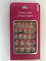 Ногти накладные детские с розовым блестящим френчем и цветочками фирмы Claire's (оригинал)