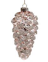 Елочные стеклянные украшение Шишка 13 см, цвет - бронза (6 шт)