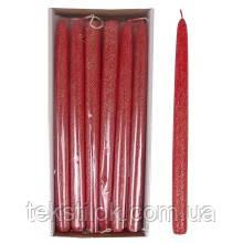 Свеча конусная Велюр Брокат 30 см. красная
