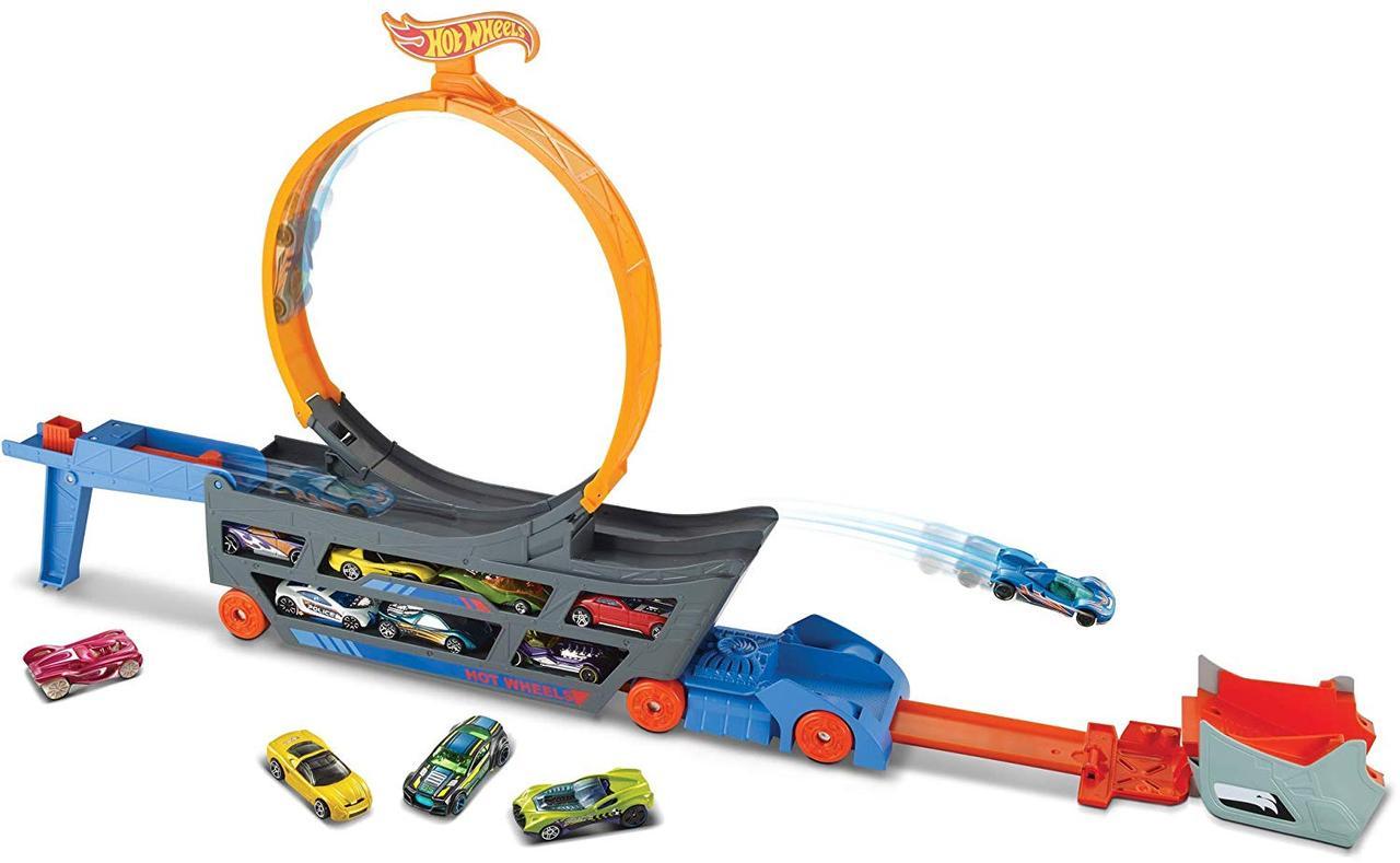 Автовоз перевозчик мегатягач Хот Вилс Hot Wheels трек-трансформер Трюки и Гонки крутые трюки