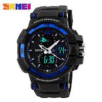 Мужские спортивные часы Skmei Shock Resistant черные с синим