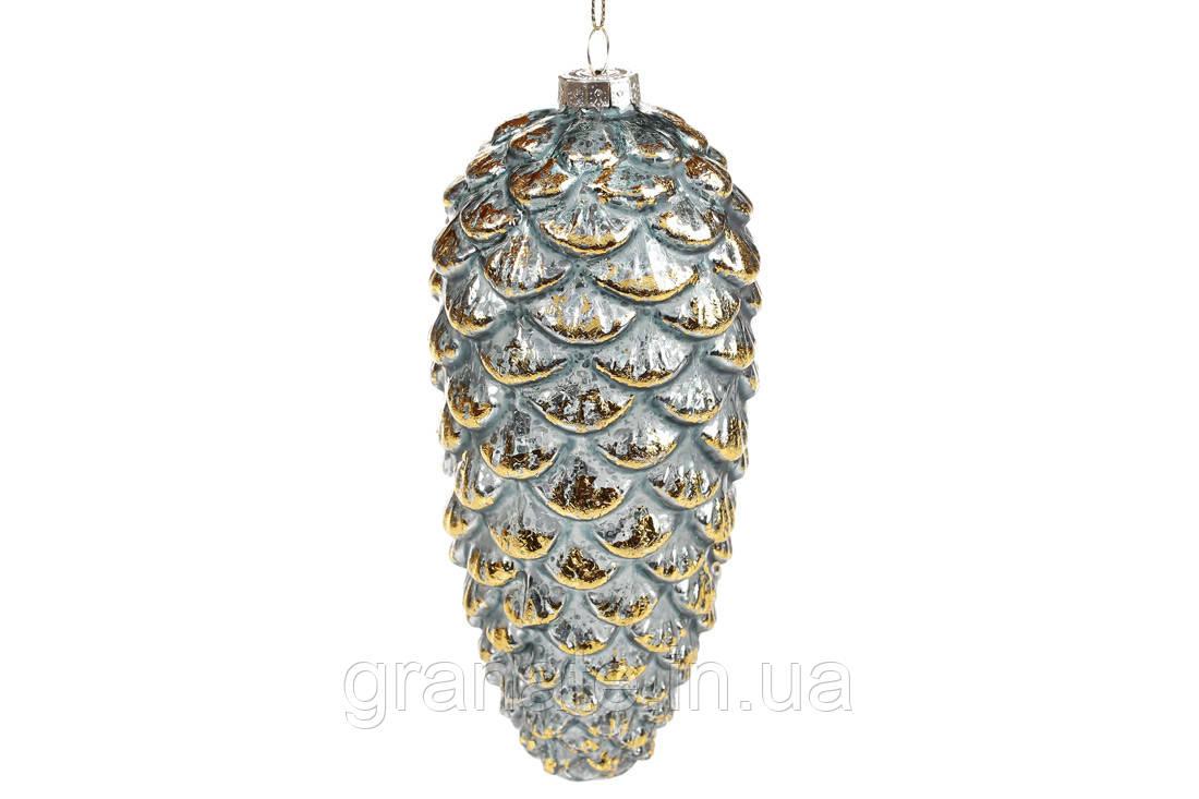 Елочные стеклянные украшение 13.5 см, цвет - графитовый синий (12 шт)