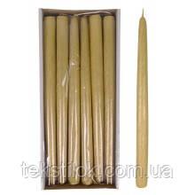 Свеча конусная Велюр Брокат 30 см. металлик золото