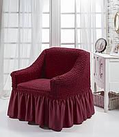 Чехол на кресло с юбкой Бордовый Home Collection Evibu Турция 50120