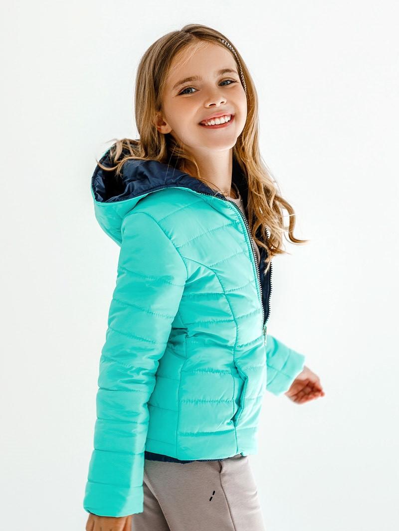 Детская куртка демисезонная для девочки двусторонняя | 122-146р.