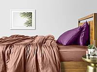 Комплект евро взрослого постельного белья сатин BEIGE VIOLET-P