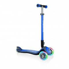 Самокат Globber серии Elite Deluxe синий колеса с подсветкой до 50кг  3 колеса 444-400