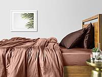 Комплект евро взрослого постельного белья сатин BEIGE CHOCOLATE-P