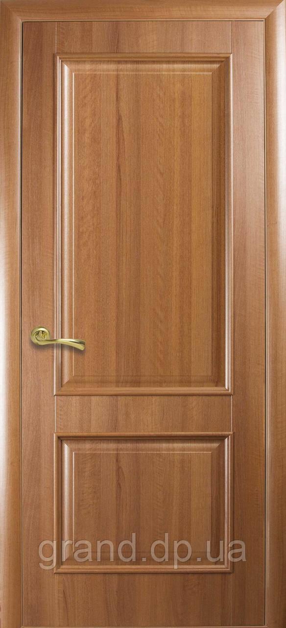 Двери межкомнатные Новый стиль Вилла ПВХ Deluxe глухая с гравировкой, цвет золотая ольха